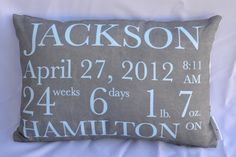 Birth Announcement Pillow for a baby boy, custom pillow. $50.00, via Etsyv -