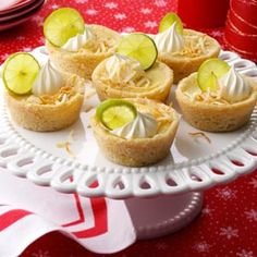 Mini Key Lime and Coconut Pies   1 tube (16-1/2 ounces) refrigerated sugar cookie dough       1 can (14 ounces) sweetened condensed milk       1/2 cup Key lime juice       3 egg yolks       2 teaspoons grated lime peel       1/2 cup heavy whipping cream       1/4 cup confectioners' sugar       1/4 teaspoon vanilla extract       1/8 teaspoon coconut extract       1/4 cup flaked coconut, toasted