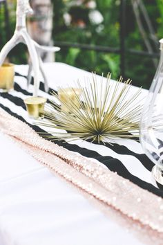 Chic Black, White, and Gold Birthday Party: http://www.stylemepretty.com/living/2014/05/30/chic-black-white-gold-birthday-party/ | Photography: Hello Pinecone Photography - http://hellopinecone.com/