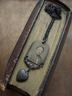 Sweetheart - Gem Tintype Necklace by Luminoddities on Etsy $46