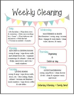 """Free """"Weekly Cleaning"""" Printable ~    This cleaning schedule makes for an easy """"spring cleaning"""" schedule or you can use it as a daily plan/weekly.    Download @:    http://orchardgirls.blogspot.com/2013/05/fix-it-up-friday-free-organizational.html"""