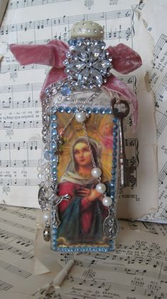 Blue Crystal Rosary Bottle by scrappyjessi on Etsy, $32.00