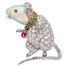 VERDURA  The Historic Babe Paley Diamond Opal Mouse Brooch