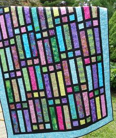 Very Easy Quilt Patterns | ... Quilt Pattern - Jelly Roll or Bali Pop - Quick and EASY Throw Size