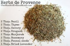 DIY Herbs de Provence Recipe - One Hundred Dollars a Month