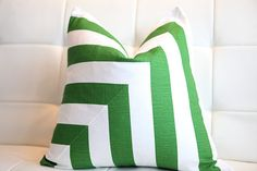 Green Decorative Pillow Cover  Green White Stripes by kassapanola, $40.00