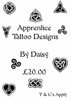 This weeks offer is Celtic Knots, Apprentice Designs, tattoos for £20.00  Celtic knots are an endless path which represents eternity or never ending. This can be for love, faith, loyalty or friendship.  #tattoo #tattoodesigns #apprentice #celtic #secretink #truro #cornwall Celtic Knots, Tattoo Offer