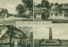 Ball, Saatzig, Pommern. Top row: village street, village pond. Bottom row: church, war memorial.