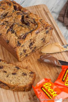 Nutella Swirled Peanut Butter Banana Bread- NUTELLA, BANANAS, PEANUT BUTTER, CHOCOLATE CHIPS, and chopped REESES!!