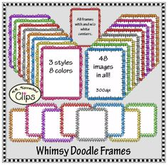 Colorful Whimsy Doodle Frames $ http://www.teacherspayteachers.com/Product/Colorful-Whimsy-Doodle-Frames-1234577