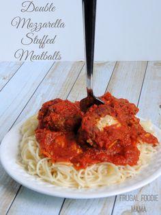 Double Mozzarella Stuffed Meatballs via thefrugalfoodiemama.com #slowcooker