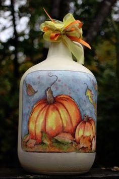 Hand painted wine jug beautiful Fall colors!
