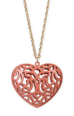 long chain #necklace with #peach metal #heart