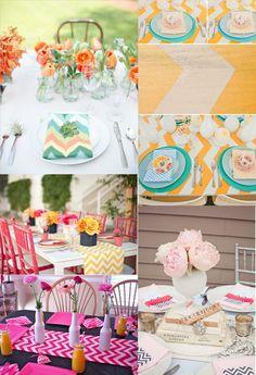 . mints, idea, color combos, mint and orange, weddings, colors, ami shower, chevron, parti