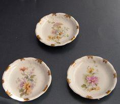 Tielsch CT Porcelain Butter Pat Chip Set 3 Different Floral Designs | eBay