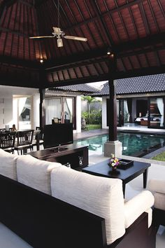 interior design, villa, outdoor living, pool area, dream homes, beach houses, outdoor spaces, white furniture, outdoor pools