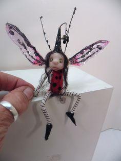 ooak pose-able LADY BUG pixie FAIRY (35 ) art doll by DinkyDarlings 53E