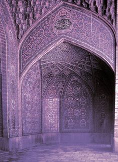 islamic architecture, mosqu, violet, purple rooms, door, mosaic, place, design, colored glass