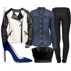 Black & Blue, created by adoremycurves on Polyvore