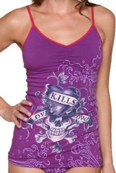 CLICK IMAGE TWICE FOR PRICING AND INFO :) #bra #bras #shelf #shelfbra #shelfbras #womens #intimates  SEE A LARGER SELECTION FOR the shelf bra at http://zwomensbra.com/category/bra-categories/shelf-bra/ -  Love Kills Ed Hardy KATE Cami with Shelf Bra(PURPLE,LARGE) « Z Womens Bra