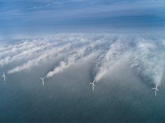 Wind turbine wakes wind turbine, farms, sea, cloud, horn, denmark, renewable energy, wind power, solar energy