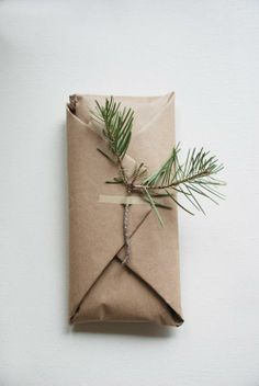 Simple and pretty gift wrap idea | Brown paper and pine    This is for you.   Little fact: I love giving and receiving gifts.