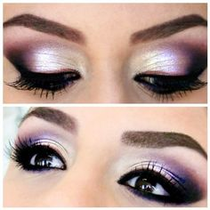We love this gorgeous shimmery purple eye with a glimpse of white eyeshadow to give that wide-awake look. Visit Beauty.com for all the greatest eye makeup.