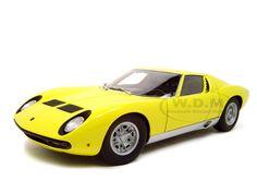 Lamborghini Miura SV Diecast Model Yellow 1/18 Die Cast Car By Autoart