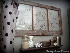 Stencil.....lightly spray with white paint.....reuse old windows......