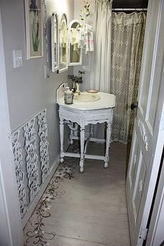 redo in the guest bath | Flickr - Photo Sharing! What a lovely idea for the old bathroom