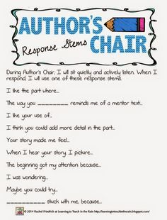 Learning to Teach in the Rain: Author's Chair Response Stems freebie
