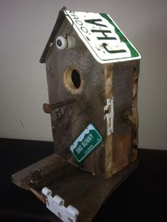 Colorado License Plate Reclaimed Materials Bird House