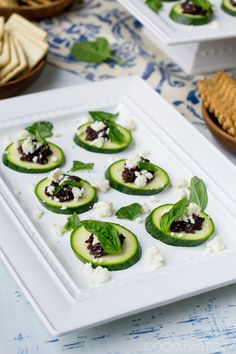 One of my favorite appetizers - Zucchini, Tapenade and Feta Cheese Bites