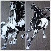 Pair of Horses - 2 Canvas Set Oil Painting 70 x 70 inches