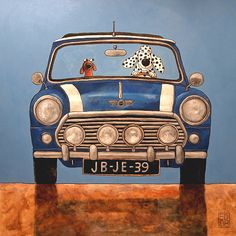 020 MINI COOPER - signed and numbered giclee print  14 x 14 cm / 5.5 x 5.5 inch on Etsy, $19.50