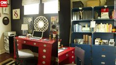 Laurie Jones' home office ties its colorful decor scheme back to the rest of her house by using black paint.