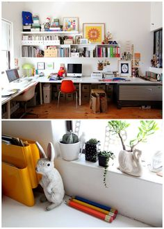 Shared studio space....This is a lot bigger then mine but I bet there are some applicable ideas here