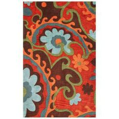 Kas Rugs Wavy Floral Mocha/Rust 8 ft. x 10 ft. Area Rug-BAI28778X10 at The Home Depot