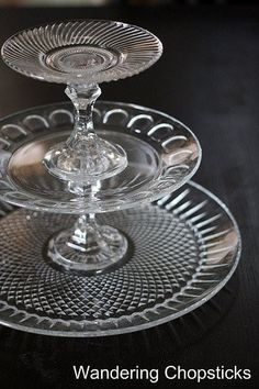 3-Tier Glass Serving Stand dessert tray made from upcycled candlesticks and serving platters