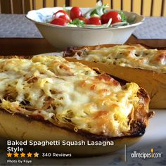 "Baked Spaghetti Squash Lasagna Style | ""This is an alternative to bland old spaghetti squash. It resembles baked Rigatoni and Lasagna. Kids also loved it!"" - Brisak"