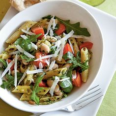 Penne with Pistachio Pesto and White Beans   CookingLight.com
