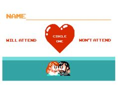 Our retro video game themed wedding rsvps (designed by my husband, with text layout by myself).