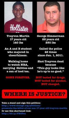 Another kicker to this story is that the coward, Zimmerman, STILL HAS HIS GUN! They did not take it in as evidence..I know cases where people actually do have to kill in self defense & anything used to kill that person w/ is ALWAYS taken in as evidence. RIDICULOUS! I'm standing up for Justice for Trayvon Martin, this is more than just a racial issue, this is an American issue.