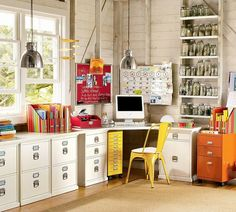 8 Home Office Organizing Tips - everything has its place, if you can see it-you will use it!!! - use pegboards and bulletin boards - love the mason jars on shelves idea