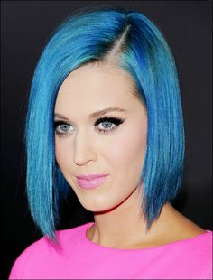 Katy Perry's pretty blunt, blue, A-line bob.