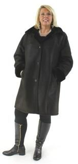 Oh so Warm Practical and Beautiful Dark Steel Grey Plus Size Shearling Jacket