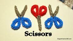 Scissor Charm - How to Rainbow Loom Pattern Design - School Series Elegant Fashion 360 Tutorial