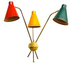 Multi-colored 3 arm sconce by M. Kobis & R Lorence, France, 1954.