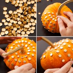 Use gold studs to make a super chic pumpkin—no hammer or special tools required!