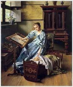 Bonheur maternel huile sur panneau en 1898 de Willem GEETS (belge)
